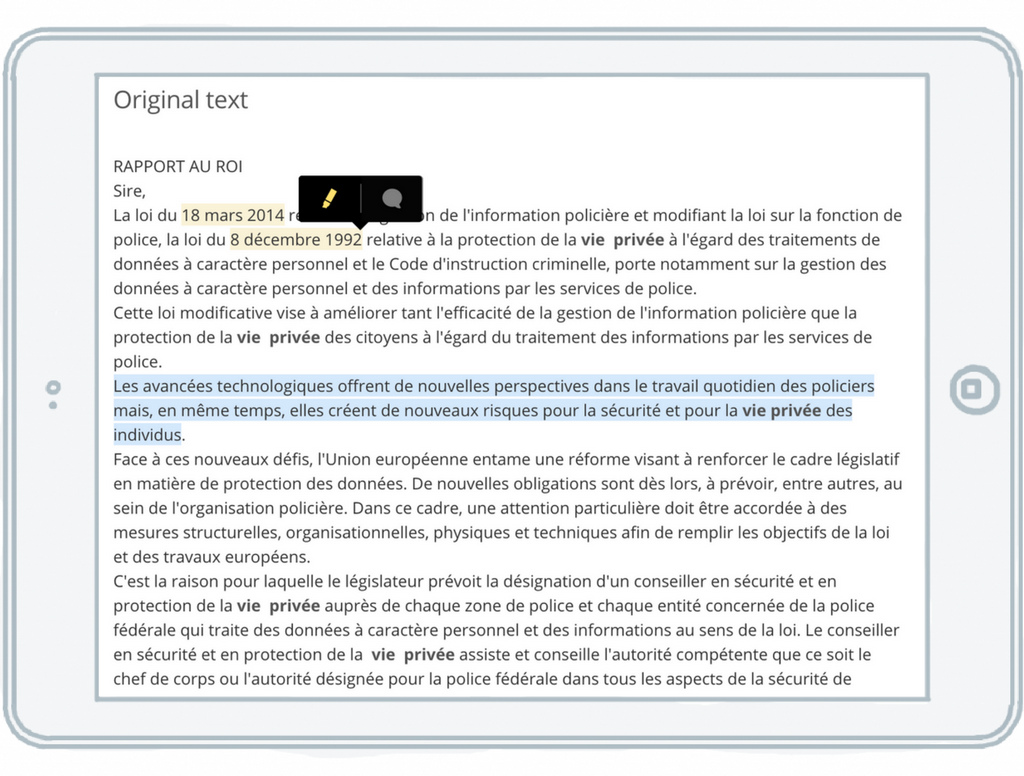 Comment, highlight and annotate legal documents